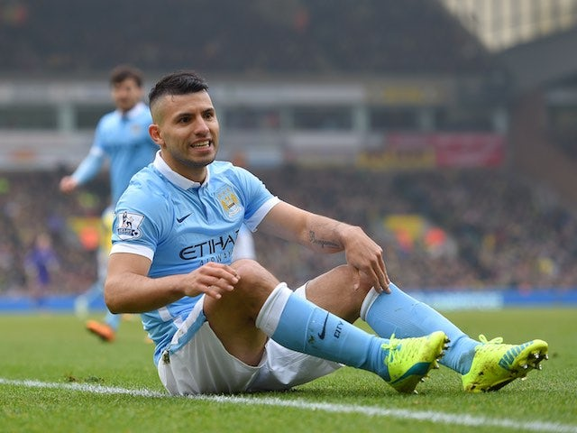 Sergio Aguero takes a seat during the Premier League game between Norwich City and Manchester City on March 12, 2016