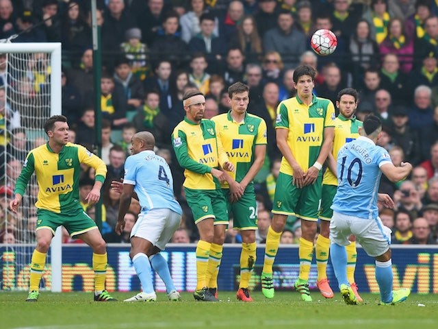 Sergio Aguero takes a free kick during the Premier League game between Norwich City and Manchester City on March 12, 2016