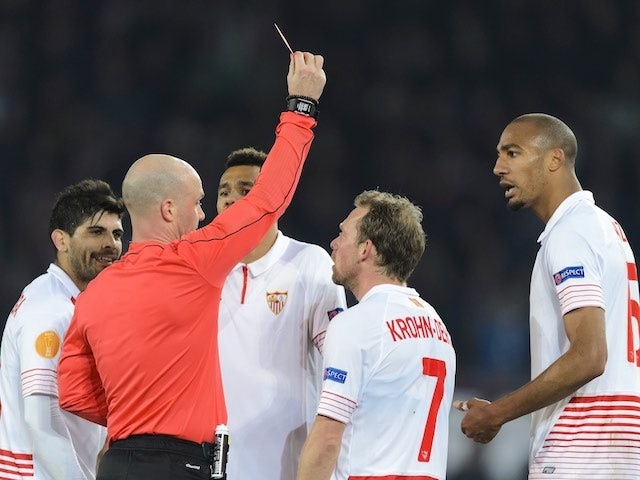 Steven N'Zonzi sees red during the Europa League game between Basel and Sevilla on March 10, 2016