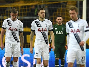 Dejected Tottenham Hotspur players during the Europa League last-16 first leg against Borussia Dortmund on March 10, 2016