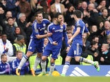 Cesc Fabregas celebrates the equaliser during the Premier League game between Chelsea and West Ham United on March 19, 2016