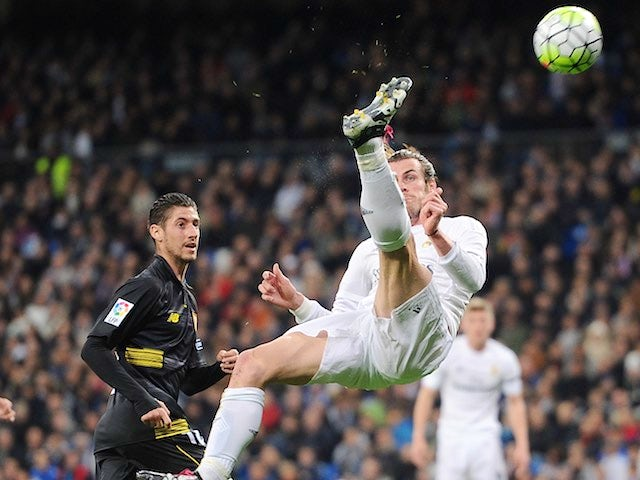 Gareth Bale spreads 'em during the La Liga game between Real Madrid and Seville on March 20, 2016