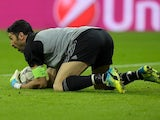 Gianluigi Buffon catches the ball during the Champions League round-of-16 second leg between Bayern Munich and Juventus on March 16, 2016