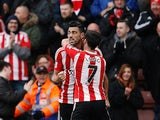 Graziano Pelle celebrates his equaliser during the Premier League game between Southampton and Liverpool on March 20, 2016