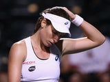 Johanna Konta of Great Britain looks down in her match against Karolina Pliskova on March 15, 2016