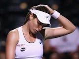 Johanna Konta of Great Britain looks down in her match against Karolina Pliskova on March 15, 2016