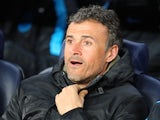 Luis Enrique looks on prior to the Champions League round-of-16 second leg between Barcelona and Arsenal on March 16, 2016