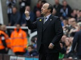 Rafael 'show me the money' Benitez gestures during the Premier League game between Newcastle United and Sunderland on March 20, 2016
