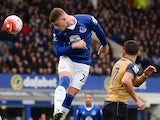 Ross Barkley wins a header during the Premier League game between Everton and Arsenal on March 19, 2016