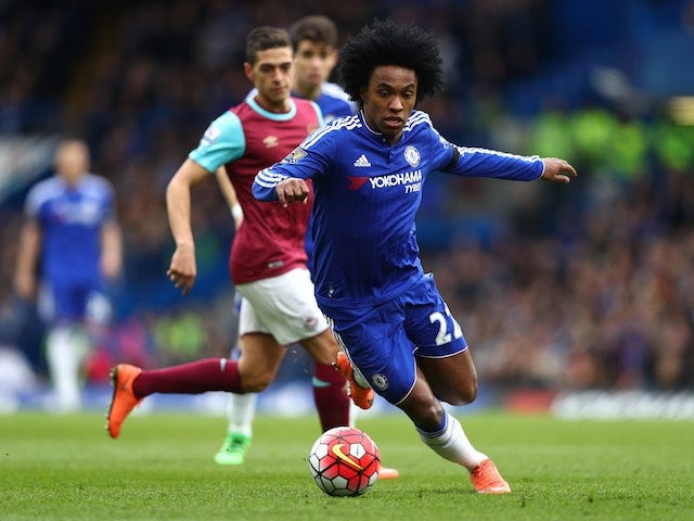 Willian in action during the Premier League game between Chelsea and West Ham United on March 19, 2016