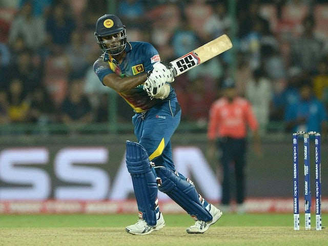 Angelo Mathews bats during the World Twenty20 game between England and Sri Lanka on March 26, 2016