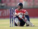 Ben Stokes slumps to the floor after being bowled out during the World Twenty20 match between England and Afghanistan on March 23, 2016