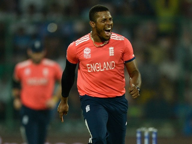 Chris Jordan celebrates taking a wicket during the World Twenty20 game between England and Sri Lanka on March 26, 2016