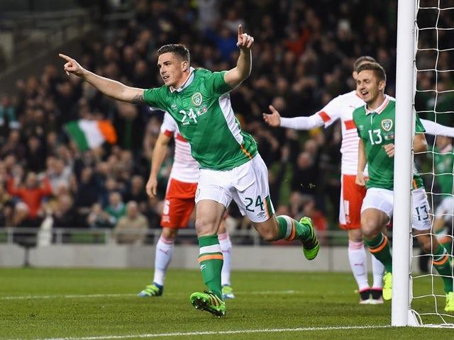 Ciaran Clark of Republic of Ireland celebrates scoring the opening goal during the international friendly against Switzerland at Aviva Stadium on March 25, 2016