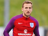 Harry Kane in action during an England training session on March 22, 2016