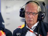Dr Helmut Marko looks on in the garage during practice for the Austria Grand Prix at Red Bull Ring on June 19, 2015