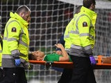 Kevin Doyle leaves the field on a stretcher during the international friendly between Republic of Ireland and Switzerland at Aviva Stadium on March 25, 2016