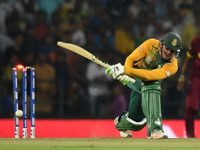 Quinton de Kock is bowled during the World T20 cricket tournament match between South Africa and West Indies  on March 25, 2016