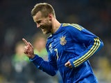 Andriy Yarmolenko celebrates scoring the opener during the international friendly between Ukraine and Wales on March 28, 2016