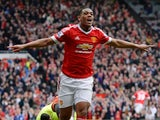 Anthony Martial celebrates scoring during the Premier League match between Manchester United and Everton on April 3, 2016