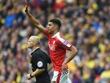 Ashley Fletcher celebrates scoring during the League Trophy final between Oxford United and Barnsley on April 3, 2016