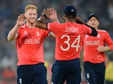 Ben Stokes celebrates his own beauty with Chris Jordan during the World Twenty20 semi-final between England and New Zealand on March 30, 2016