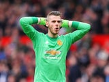 David De Gea flexes during the Premier League match between Manchester United and Everton on April 3, 2016