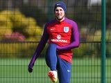 Harry Kane has a stretch during an England training session on March 28, 2016
