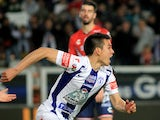 Hirving Lozano of Pachuca celebrates his goal against Veracruz on March 19 2016
