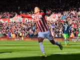 Ibrahim Afellay celebrates scoring during the Premier League match between Stoke City and Swansea City on April 2, 2016