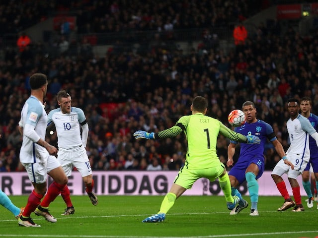 Jamie Vardy scores England's goal against Netherlands at Wembley on March 29, 2016