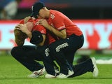 Joe Root consoles Ben Stokes after the World Twenty20 final between England and the West Indies at Eden Gardens on April 3, 2016