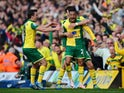 Martin Olsson celebrates with his Norwich City teammates after scoring the winning goal against Newcastle United on April 2, 2016