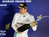 Nico Rosberg celebrates winning the Bahrain GP with some sparkling wine on April 3, 2016