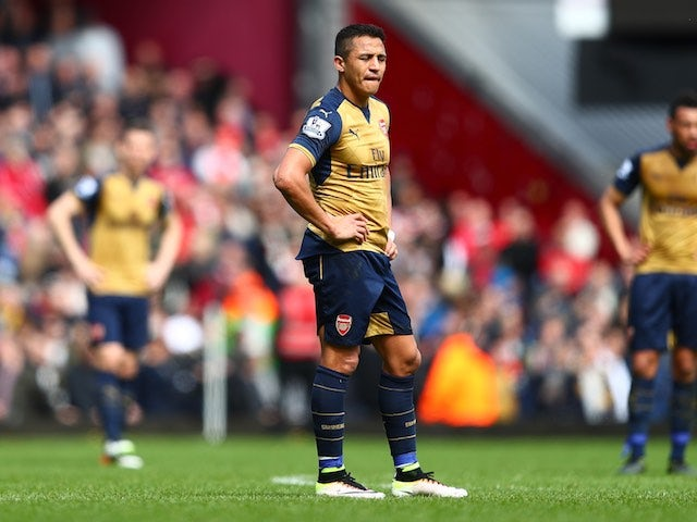 Alexis Sanchez reacts to the Hammers' equaliser during the Premier League game between West Ham United and Arsenal on April 9, 2016