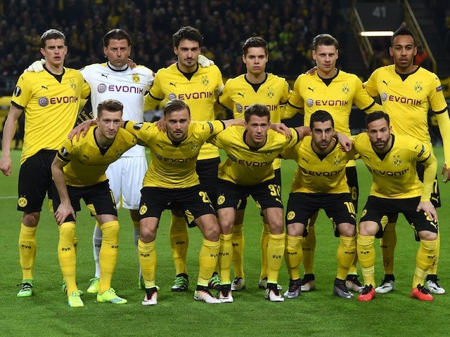 The Dortmund starting XI in the Europa League quarter-final between Borussia Dortmund and Liverpool on April 7, 2016