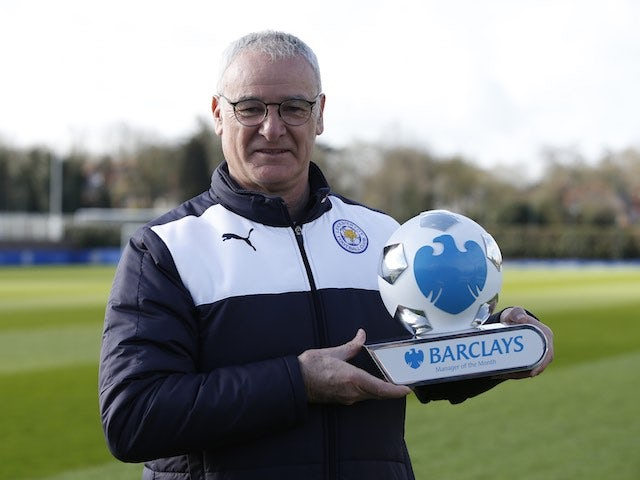 Claudio Ranieri poses with his manager of the month award for March 2016
