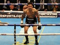 Conor Benn celebrates his first-round defeat of Ivalo Boyanov on April 9, 2016