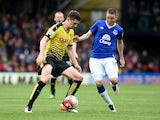 Craig Cathcart and James McCarthy in action during the Premier League game between Watford and Everton on April 9, 2016