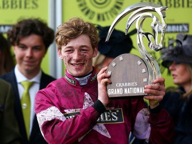 David Mullins celebrates winning the Grand National on April 9, 2016