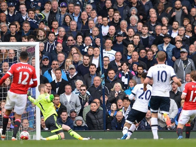 Dele Alli shoots to score the opener during the Premier League game between Tottenham Hotspur and Manchester United on April 10, 2016