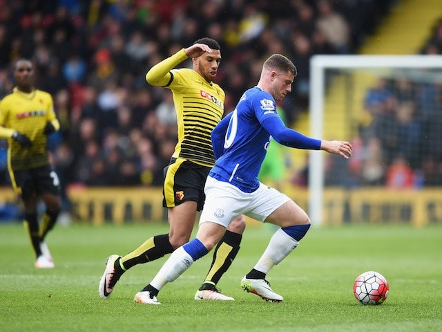Etienne Capoue chases down the beastly Ross Barkley during the Premier League game between Watford and Everton on April 9, 2016