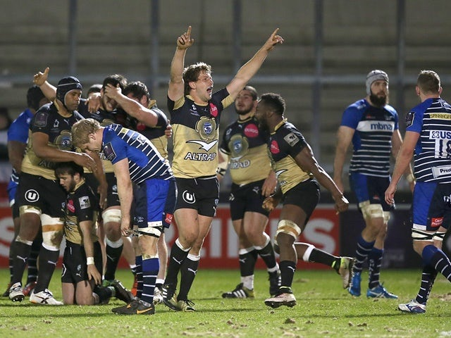 Frans Steyn of Montpellier celebrates victory with teammates during the European Rugby Challenge Cup quarter-final against Sale Sharks on April 8, 2016