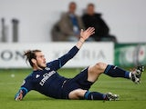 Gareth Bale goes down during the Champions League quarter-final between Wolfsburg and Real Madrid on April 6, 2016