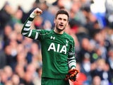 Hugo Lloris celebrates at the end of the Premier League game between Tottenham Hotspur and Manchester United on April 10, 2016