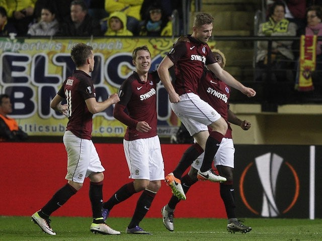 Jakub Brabec celebrates getting an equaliser during the Europa League quarter-final between Villarreal and Sparta Prague on April 7, 2016