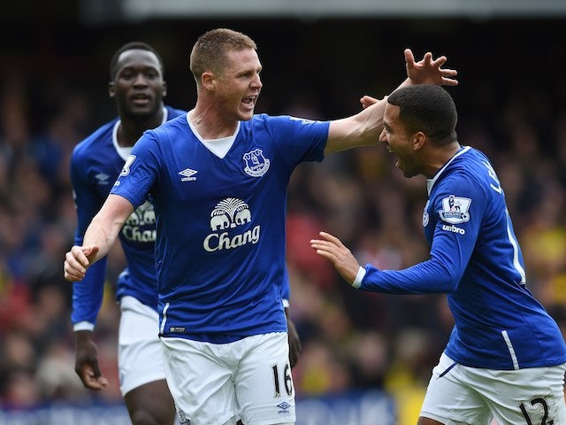 James McCarthy and Aaron Lennon celebrate during the Premier League game between Watford and Everton on April 9, 2016