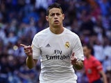 James Rodriguez celebrates scoring during the La Liga game between Real Madrid and Eibar on April 9, 2016