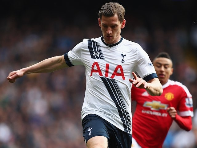 Big Jan Vertonghen back in action during the Premier League game between Tottenham Hotspur and Manchester United on April 10, 2016