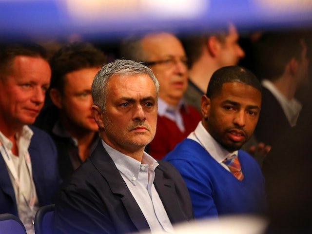 Jose Mourinho watches the action ringside at The O2 on April 9, 2016